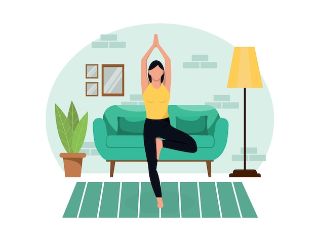 Jovem esbelta linda pratica ioga em casa, na sala de estar durante a quarentena. estilo de vida saudável emagrecimento treino relaxar e relaxar o relaxamento. estilo simples. ilustração de cor conservada em estoque.