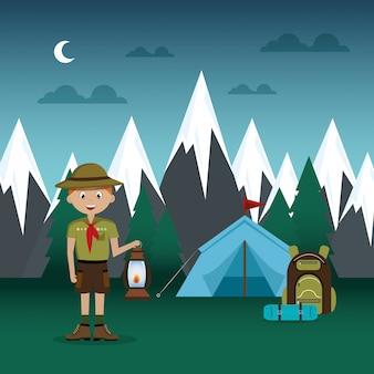 Jovem escoteiro na cena da zona de acampamento