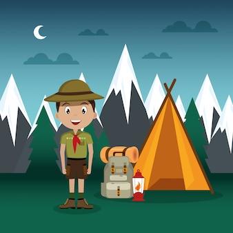 Jovem escoteiro na cena da zona de camping