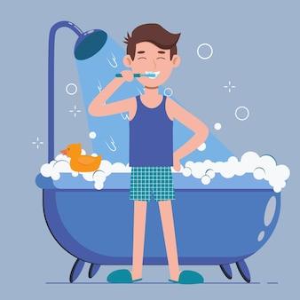 Jovem escovando os dentes em um banheiro. higiene bucal, cuidados com a saúde bucal.