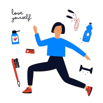 Jovem esportiva com equipamentos esportivos e cosméticos para o corpo. mulher fazendo yoga, treinamento