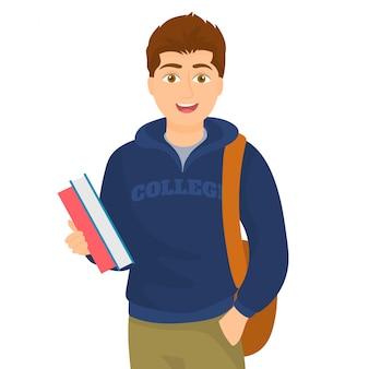 Jovem estudante feliz carregando livros