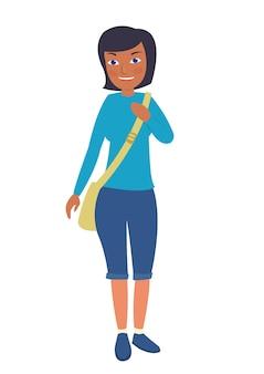 Jovem estudante feminino africano-americano ir para a escola