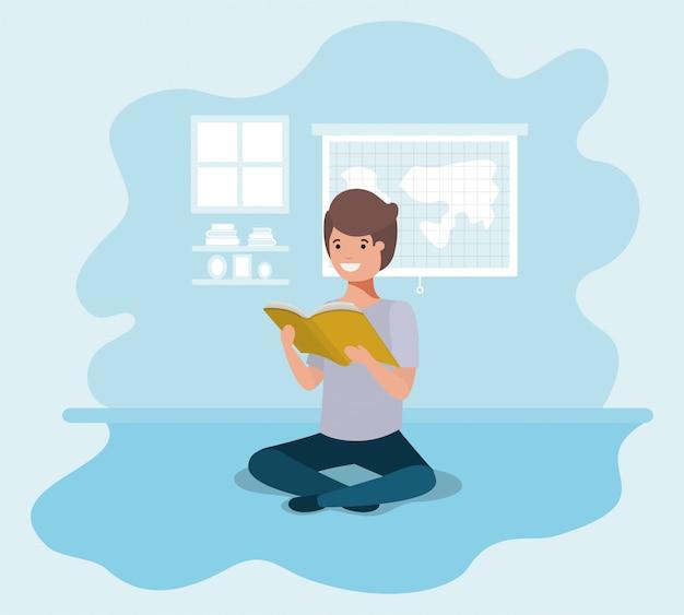 Jovem estudante sentado lendo livro