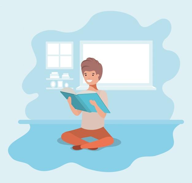 Jovem, estudante, sentando, livro leitura