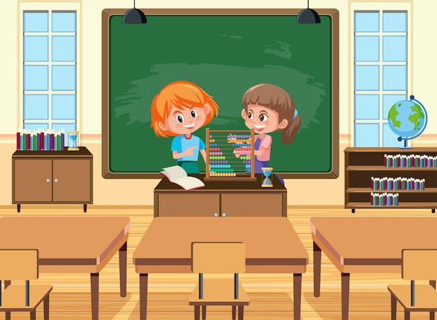 Jovem estudante tocando ábaco na frente da sala de aula