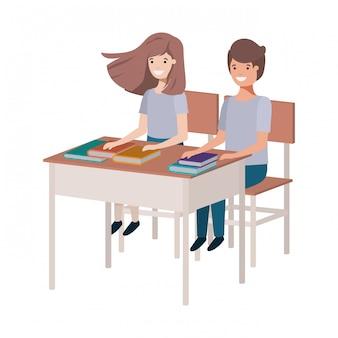 Jovem, estudantes, sentando, em, escrivaninha escolar