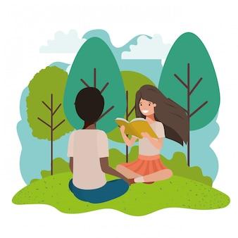 Jovem, etnicidade, estudantes, sentando, leitura, livro