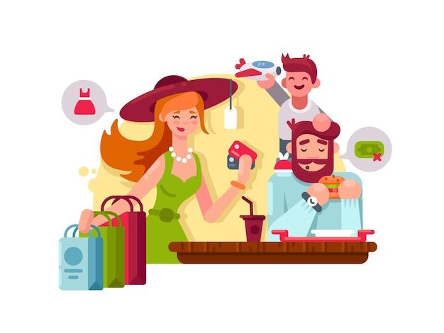 Jovem família às compras. mãe, pai e filho pequeno. ilustração vetorial