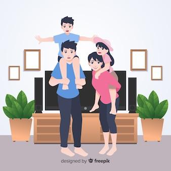 Jovem, família, casa, conceito