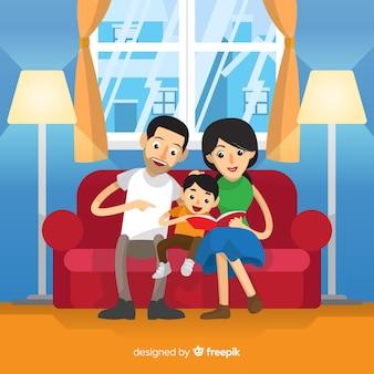 Jovem, família, lar