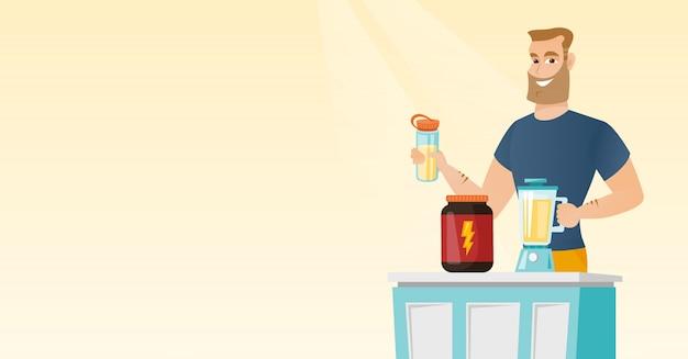 Jovem fazendo cocktail de proteína.