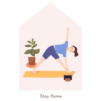Jovem fazendo exercícios de ioga. ficar em casa conceito