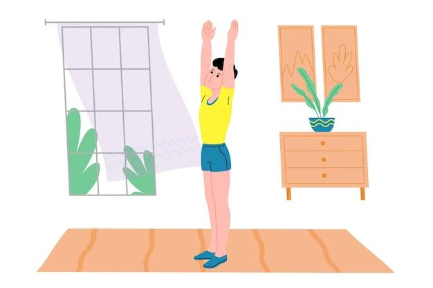 Jovem fazendo exercícios físicos de esportes, exercícios em casa e fitness em casa durante a quarentena e leva um estilo de vida saudável. ilustração em vetor plana. pessoas, homens e mulheres, usando a casa como academia.