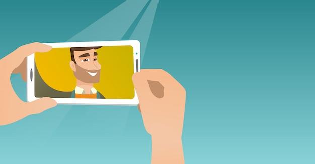 Jovem fazendo ilustração vetorial de selfie.