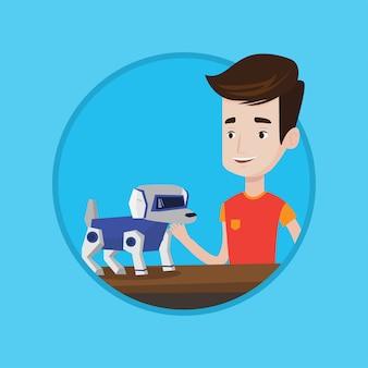 Jovem feliz brincando com cachorro robótico.