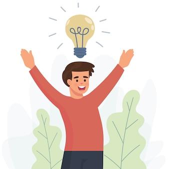 Jovem feliz recebe uma nova ideia