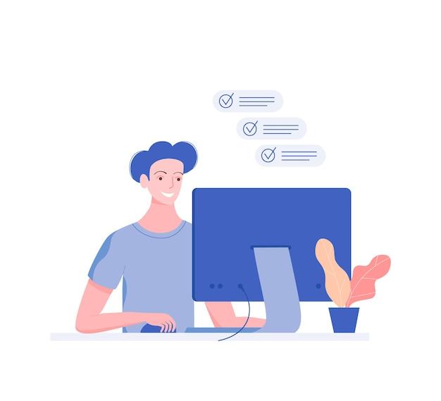 Jovem feliz trabalhando no computador. lista de afazeres. estilo moderno simples.