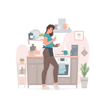 Jovem fêmea cozinhando na cozinha em casa