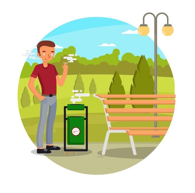 Jovem fumante passivo fumando cigarro na ilustração do parque da cidade