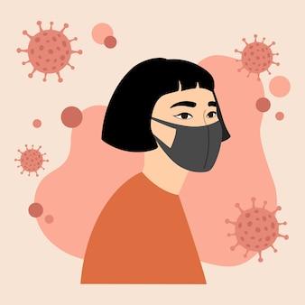 Jovem garota asiática em máscara facial médica preta, proteção. coronavirus, covid-19, epidemia mundial.