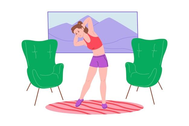 Jovem garota fazendo esportes, exercícios físicos, exercícios em casa e fitness em casa durante a quarentena e levar um estilo de vida saudável. ilustração em vetor plana. pessoas, homens e mulheres, usando a casa como academia.