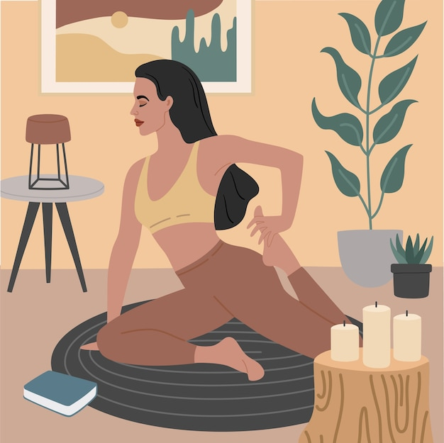Jovem garota fazendo exercícios de alongamento, poses de ioga. apartamento aconchegante com interior elegante e plantas decorativas.