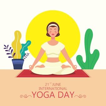 Jovem garota fazendo exercícios de ioga padmasana para o dia internacional da ioga em junho. ilustração de um personagem fazendo yoga.