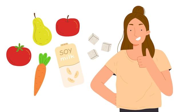 Jovem garota feliz com comida vegana e sorrisos. ilustração vetorial no estilo cartoon isolado