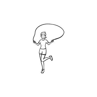 Jovem garota pulando ícone de doodle de contorno desenhado de mão de corda. exercícios aeróbicos, conceito de atividade do playground. ilustração de desenho vetorial para impressão, web, mobile e infográficos em fundo branco.