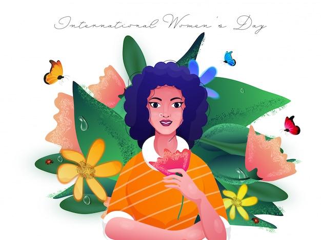 Jovem garota segurando flor com borboletas, joaninhas e folhas verdes decoradas em fundo branco, para o dia internacional da mulher.