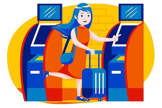 Jovem garota usando a máquina de bilhetes automáticos no aeroporto.