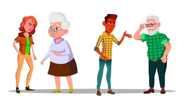 Jovem geração personagem abuso chorar no velho