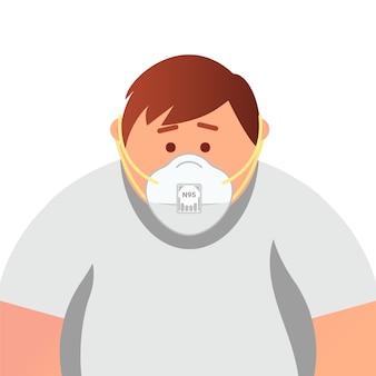 Jovem gordo na máscara respiratória descartável médica ffp3 para proteção contra coronavírus, sars, poluição do ar, vírus, gripe, infecção