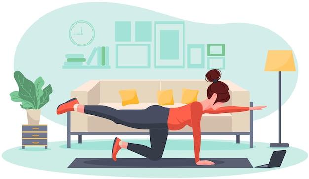 Jovem grávida fazendo exercícios em casa