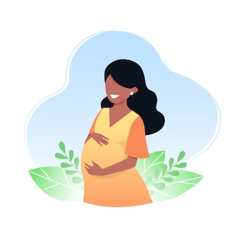 Jovem grávida feliz. o conceito de gravidez e maternidade. ilustração vetorial