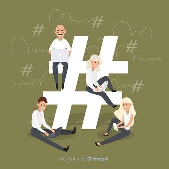 Jovem, hashtag, símbolo, fundo