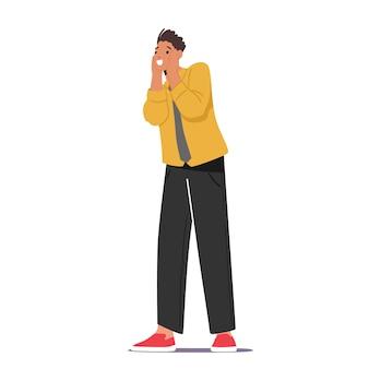 Jovem homem caucasiano com a boca aberta, segurando o rosto, uau, emoção de surpresa. personagem masculino atordoado expressão de atordoamento ou de choque. pessoa que recebe um presente ou surpresa. ilustração em vetor desenho animado