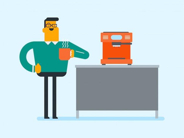 Jovem homem caucasiano fazendo café.