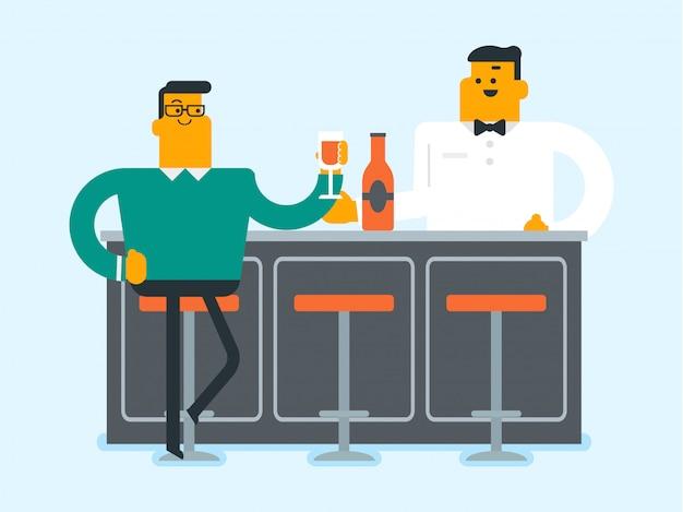 Jovem homem caucasiano sentado no bar balcão.