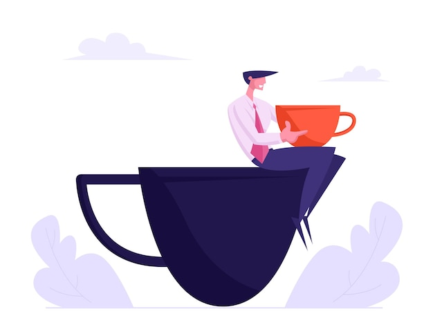 Jovem homem de negócios em terno formal relaxando na pausa para o café