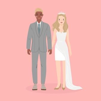 Jovem homem e mulher, casal noiva e noivo em casamento, vestido formal. ilustração vetorial na moda