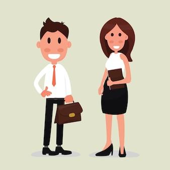 Jovem, homem negócio, e, mulher