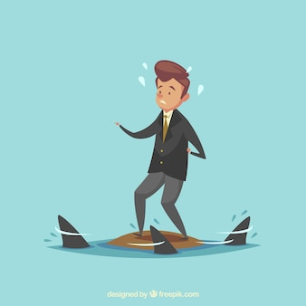 Jovem, homem negócios, cercado, tubarões