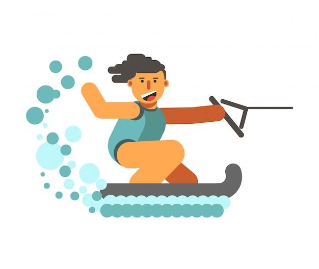 Jovem, human, ligado, esquiadores água, segurando, preto, adriça, branco