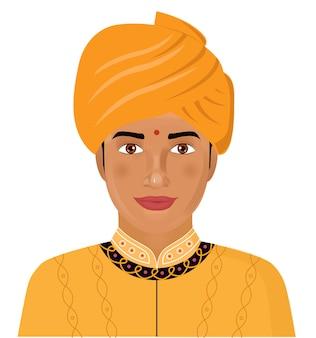 Jovem indiano em roupas tradicionais