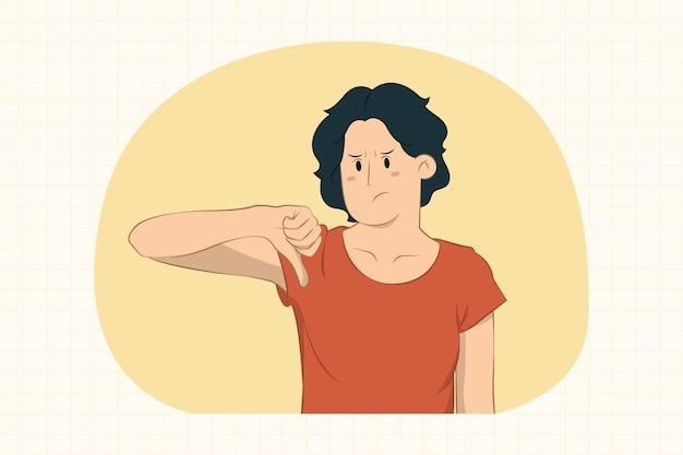 Jovem insatisfeita mostrando o polegar para baixo