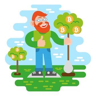 Jovem investidor de criptomoeda.