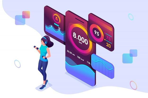 Jovem isométrica conceito está envolvida em treinamento de aplicativo móvel que monitora sua atividade.