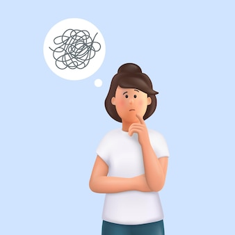 Jovem jane com pensamentos emaranhados ilustração em vetor 3d pessoas personagem
